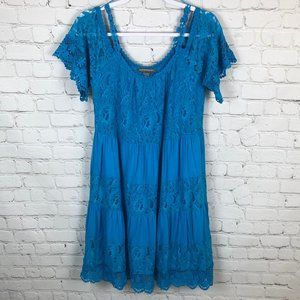 Kate & Mallory Blue Dress with Lace -Cold Shoulder